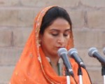 President Pranab Mukherjee administers oath of office to cabinet minister Harsimrat Kaur Badal during swearing-in ceremony of Prime Minister of India and the Council of Ministers at Rashtrapati Bhavan in New Delhi on May 26, 2014. (Photo: Amlan Paliwal/IANS)