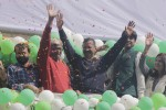 New Delhi: Aam Aadmi Party (AAP) leaders Arvind Kejriwal, Ashutosh, Ashish Khetan and Kumar Vishwas celebrate party`s performance in the recently concluded Delhi Assembly Polls at Patel Nagar in New Delhi, on Feb 10, 2015. (Photo: Sunil Majumdar/IANS)