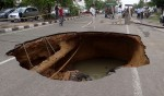 Jaipur road caves-in after rains