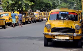Kolkata: Taxis remain parked during a strike in Kolkata, on June 11, 2015. (Photo: Kuntal Chakrabarty/IANS)